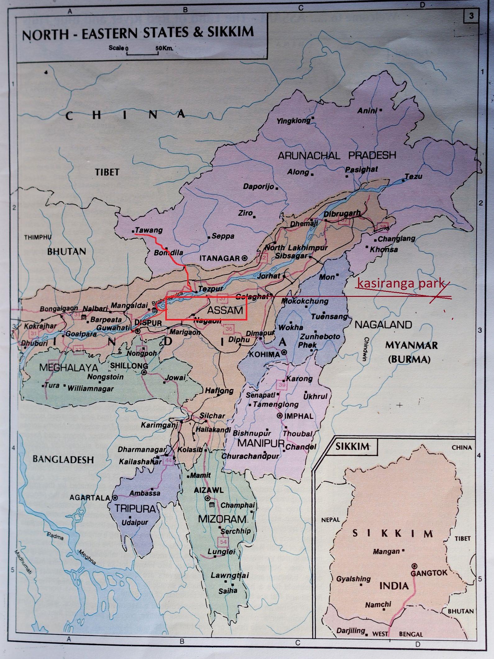 северовосточная индия карта